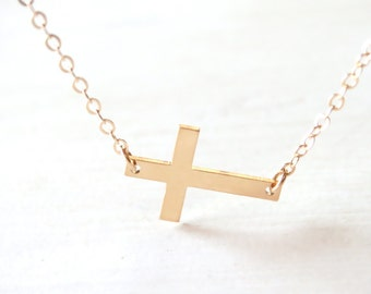 14K Gold Filled Cross Necklace - 14K Gold Filled, simple, everyday, delicate, jewelry