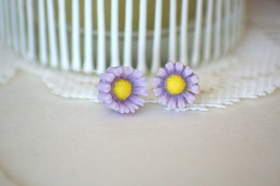 Purple Daisy 9mm Earrings Studs