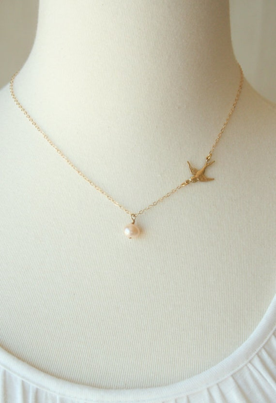 Mother of Pearl / 14K Gold Filled Chain / nature bird gold necklace