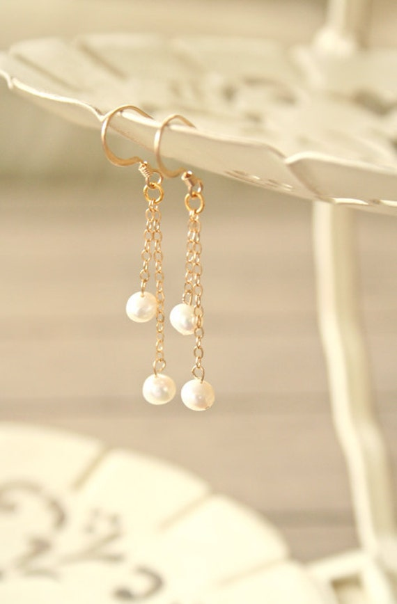 Snow Fall - Pearl Dangle Earrings - Gold Filled simple everyday jewelry