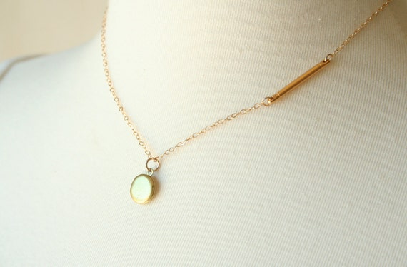 Gold Bar and Tiny Locket Necklace - On 14K gold filled chain - simple everyday modern jewelry