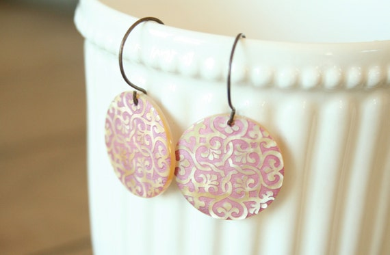Pink Medallion Dangle Earrings - Simple dainty sweet jewelry