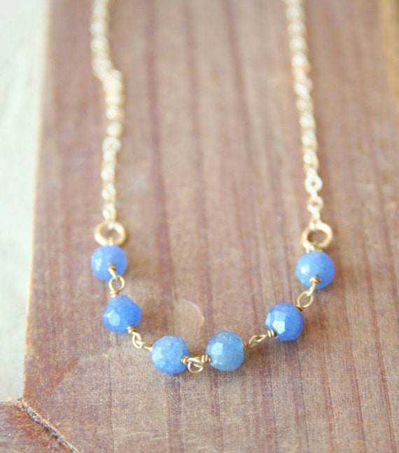 Atlantic - Royal Blue Beaded Necklace - Simple everyday delicate jewelry
