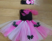 tutu dress with rolled flower headpiece set