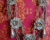 ON SALE - Early Victorian Sterling Filigree Festoon Necklace