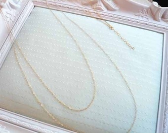 Long and Sexy Double Chain Necklace 14K Gold Filled
