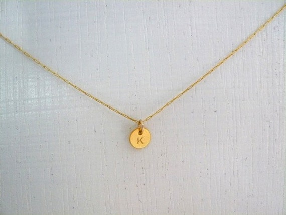 Tiny Initial Necklace, Delicate Initial Necklace, Dainty Gold Filled Necklace With A Small Initial Charm