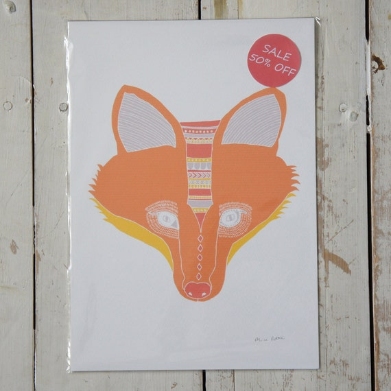 Half Price Red Fox Print Free UK Shipping.