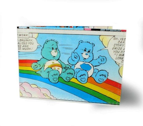Care Bears Card Holder - Grumpy & Wish Bear - Vinyl, Recycled Comic Book