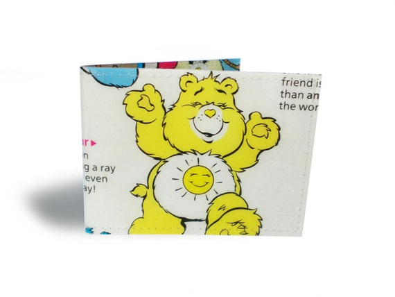 Care Bears Card Holder - Funshine Bear - Upcycled Comic & Vinyl