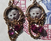 100% charity item- Neo Victorian earrings with white kitty cameos and vintage swarovskis