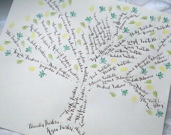 Family Tree Hand Written in Custom Calligraphy