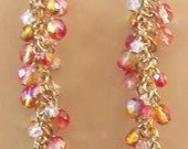 Peach and Pink Swarovski Crystal Cascading Earring