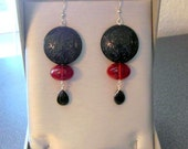 Dangle Red and Black Glass Earrings