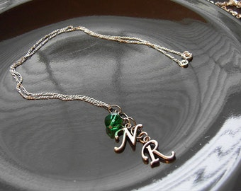 Sterling Silver Mother's Necklace Intial Necklace with Birthstone
