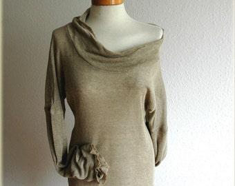 Grey LINEN Knitted Sweater Lightweight Spring Summer, Natural Material, Eco Friendly ,Linen Clothing, Sweater Linen