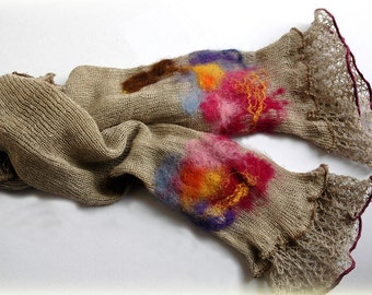 Romantic  Fingerless Gloves Mittens Arm Warmers LINEN Knitted Grey With Unique Felt Flower Appliques Eco Friendly
