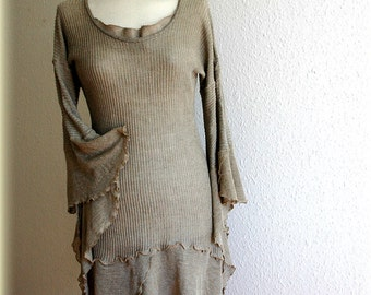 Natural LINEN Tunic With Linen Knitted, Eco Friendly, Grey Natural Tunic