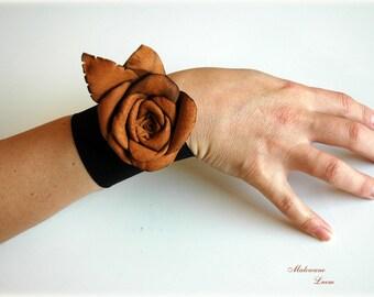 Brown Leather Rose Bracelet Cuff Necklace Brooch Leather Flower Gift vor Her