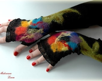 Back Fingerless Gloves Mittens  gifts Arm Warmers Linen Knitted With Unique Felt Spring  Fower Appliques Eco Friendly