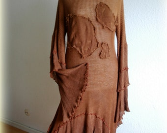 Brown Fantasy Asymmetrical Dress- Tunic With Hand Dyed Fabric Linen Knitted Eco Friendly Clothing