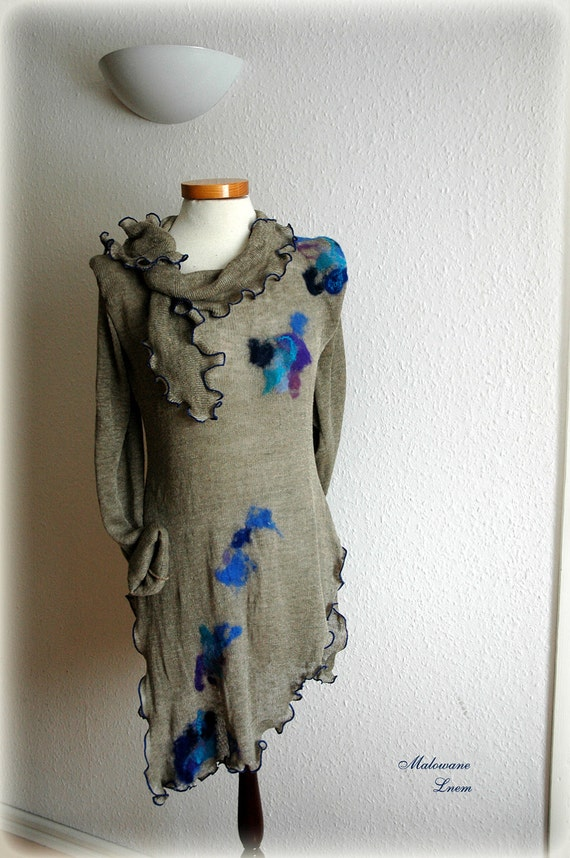 Linen Knitted Natural Tunic with felt flower application finished with ornamental stitch in blue eco friendly clothing