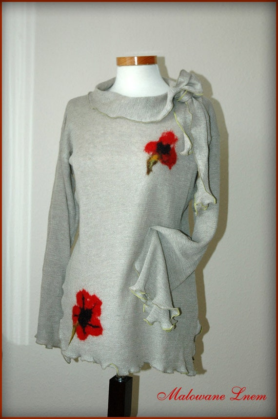 Linen knitted grey Tunic With Flower Appliques Natural Eco Friendly