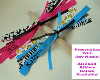 Soccer Bow Ponytail Hair Streamer PERSONALIZED with NAME and fully customizable with sport ribbon and colors