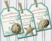 Aqua White Shabby Chic Shells Tags - French Country, Mint, Beach, Sand Dollar, Seashell, Starfish, Paris, France, Teal, INSTANT DOWNLOAD