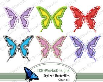 Stylized Butterflies Clipart - 8.5x11 Sheet - Butterflies, Clipart, Clip Art, Multicolor, Bright, Butterfly, Printable, INSTANT DOWNLOAD