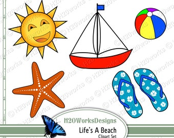 Life's a Beach Clipart Set - Starfish, Sun, Palm Tree, Sunglasses, Flip Flops, Beach Ball, Tropical Flower, Sailboat, INSTANT DOWNLOAD
