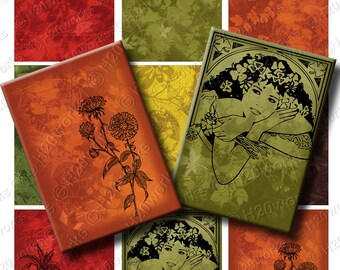 Fall Background Aceos, Autumn ATCs, Fall ACEOs, Leaves, Fall Colors, Autumn Colors, Orange, Green, Red, Yellow, Brown, INSTANT DOWNLOAD