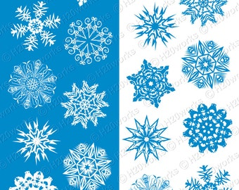 Snowflakes Clipart Set, Blue & White, Snowflakes Clip Art, Snowflakes, Winter, Christmas, Holidays, Icy, Snow, Printable, INSTANT DOWNLOAD