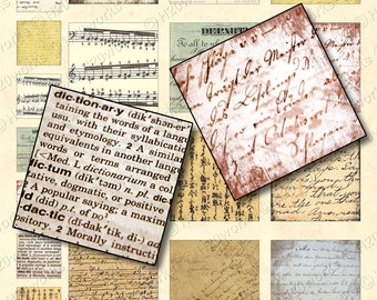 Grunge Handwriting Squares - Digital, 1x1, 2x2, Old Papers, Aged, Distressed, Text, Music, Inchie, Steampunk, Printable, INSTANT DOWNLOAD