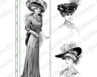 Fashion, Mid-Century, 1900's, Ladies -  Black, White, Women, Victorian, Ephemera, Vintage, Shoes, Dresses, Hats, Corsets, INSTANT DOWNLOAD