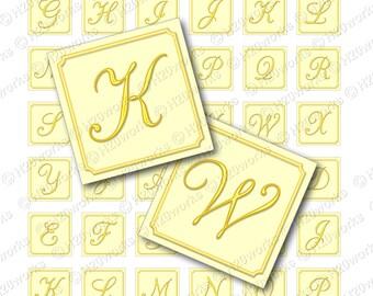 Yellow Initial Monogram - 1 inch Squares, Pastel, Script, Fancy, 1x1, Pastel, Fancy, Script, Letters, Alphabet, Printable, INSTANT DOWNLOAD