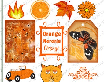 ORANGE Stuff - Things, Objects, Naranja, aceo, Tag, Butterfly, Car, Cat, Fire, Clownfish, Flower, Pumpkins, Printable,  INSTANT DOWNLOAD