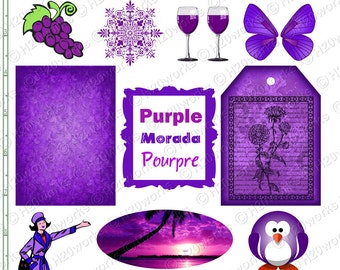PURPLE Stuff - Things that are Purple, Objects, Butterfly Wings, Wine Glasses, Grapes, Penguin, Converses, Morada, Pourpre, INSTANT DOWNLOAD