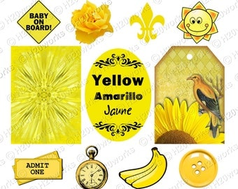 YELLOW Stuff on 8.5x11 Sheet, Things that are Yellow, Objects, Amarillo, Jaune, Butterfly, Bee, Button, Lemon, Bananas, INSTANT DOWNLOAD