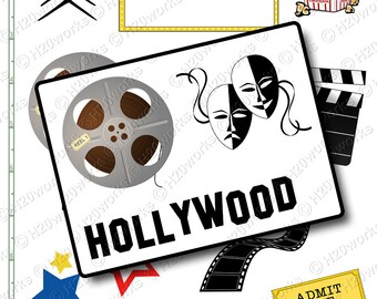 Hollywood Movies Clipart on 8.5x11 Sheet - Theater, Masks, Marquee, Stars, Film, Movie Ticket, Popcorn Stars, Clip Art, INSTANT DOWNLOAD