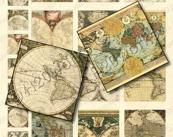 Old World Maps 1x1 & 2x2 Squares,  (Set of 24) Digital Collage Sheet, Tan, Neutral, Globes, Vintage, Ephemera, Printable, INSTANT DOWNLOAD