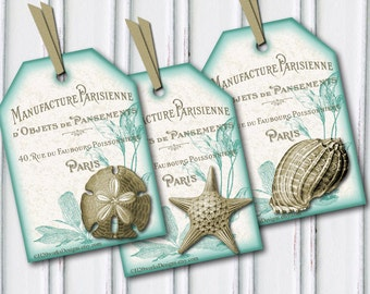 Seashell Tags, Aqua & White Tags, Shabby Chic, French Country, Beach Gift Tags, Sand Dollar, Starfish, Paris, Mint, Teal, INSTANT DOWNLOAD