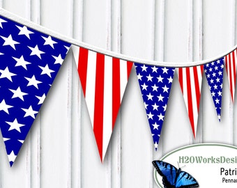 Red, White, Blue Pennant Set  - USA, 4th of July, America, Patriotic, Stars, Stripes, Banner, diy, Printable, INSTANT DOWNLOAD