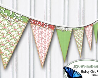 Pink, Green, Shabby Chic, Floral Pennant Set  - Bunting, Banner, Chintz, Distressed,  DIY, Printable, INSTANT DOWNLOAD