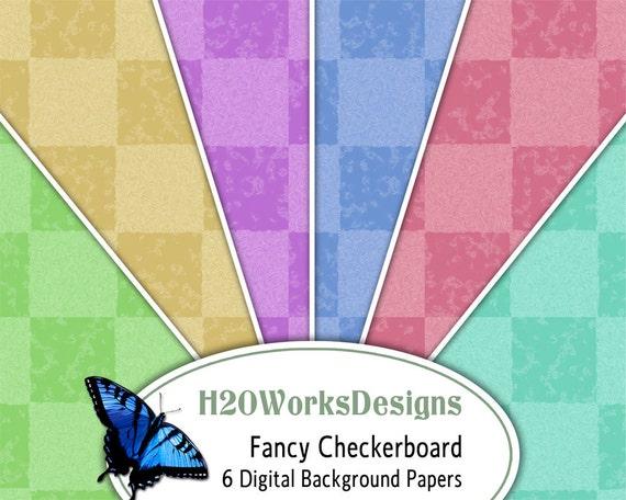 Checkered Background, Checkerboard Digital, Checkered Digital Paper Set, Downloadable Backgrounds, Squares Digital Paper, 8.5x11 Printables