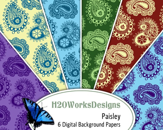 Paisley 8.5x11 Digital Backgrounds (Set of 6) Paper Pack, Multicolor, Purple, Blue, Yellow, Green, Burgundy, PRINTABLE PAPER
