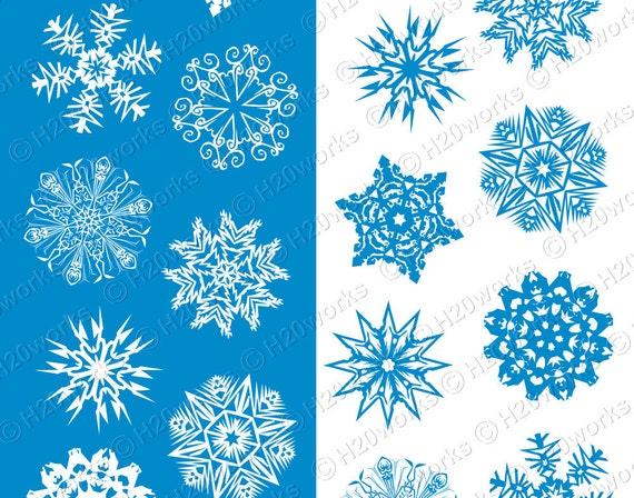 Items Similar To Snowflakes Clipart Set, Blue & White