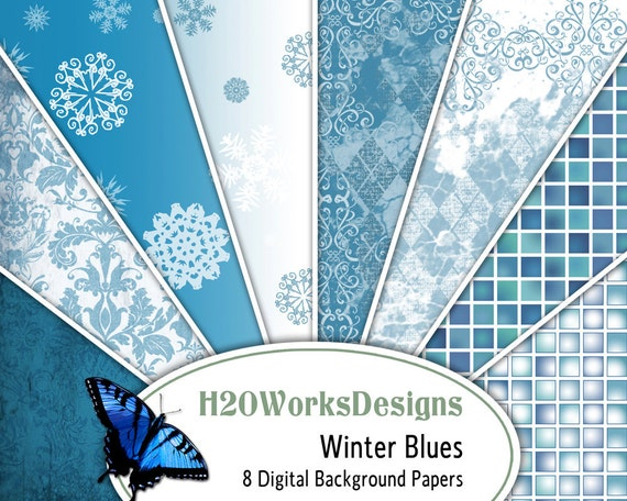 Winter Blues 8.5x11 Digital Backgrounds (Set of 8) Blue, White, Snowflakes, Grunge, Damask, Christmas, PRINTABLE PAPER
