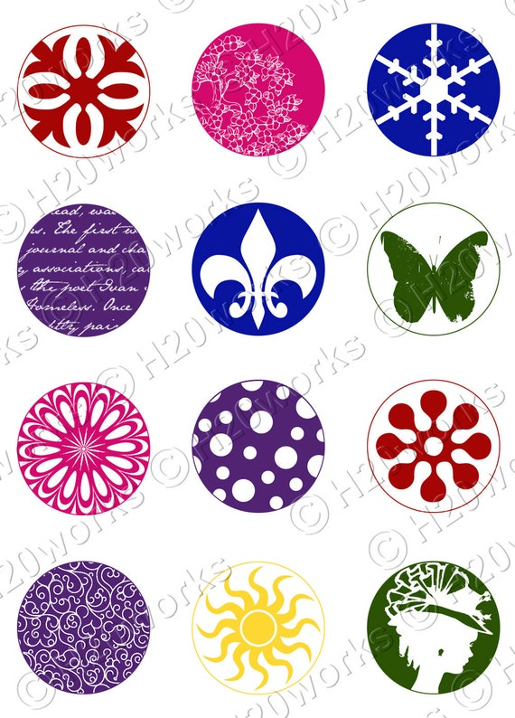 1x1 Circles - Digital, (Set of 24) Fleur de Lis, Butterfly, Multicolor, Red, Blue, Yellow, Green, Purple, Pink, Printable, INSTANT DOWNLOAD