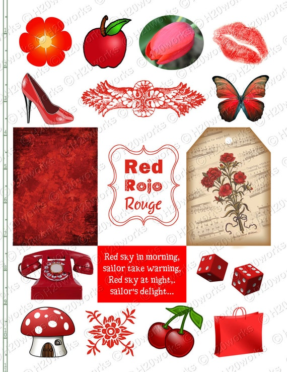 RED Stuff - Things, Objects, aceo, Tag, Rojo, Rouge, Telephone, Butterfly, Mushroom, Lips, High Heel, Apple, Flower, Dice, INSTANT DOWNLOAD